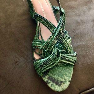 0a27dff3a164c Loeffler Randall Shoes - Loeffler Randall Green Snakeskin Sandals